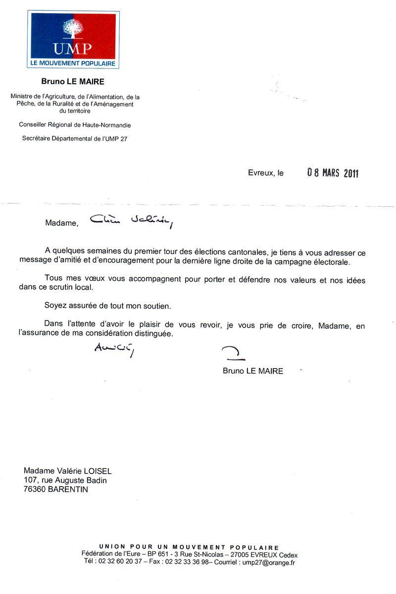Soutien de Monsieur le Ministre Bruno LE MAIRE